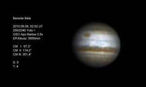Berente Béla felvétele június 6-án hajnalban készült 250/2340-es Yolo-távcsővel (a felvétel technikai adatai a képen láthatók)