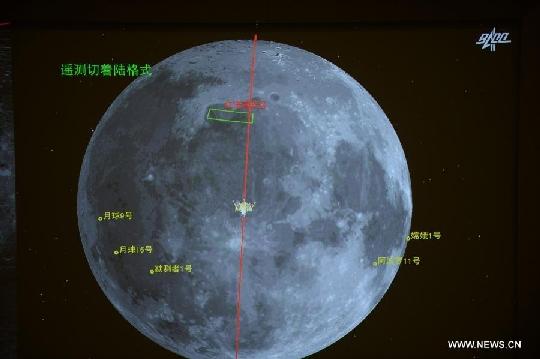 A Chang'e-3 holdszonda leszállási zónája a Szivárvány-öböl és az Esők Tengere északi vidéke között húzódik (kép: CCNTV hírek és www.universetoday.com).