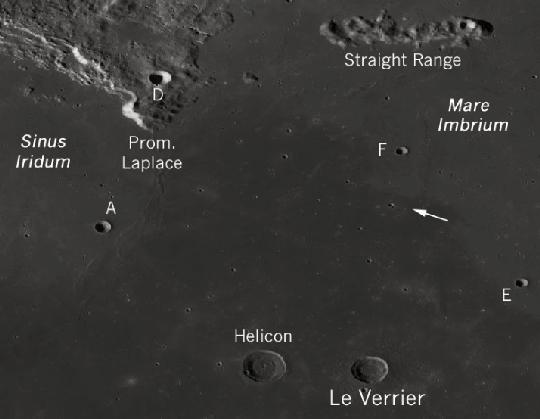 A Chang'e-3 leszállóhelye és a környezetében lévő holdi tájat, holdfelszíni alakzatokat szépen mutatja a kép. A holdszonda leszállóhelyét nyíl mutatja, A: Laplace A kráter az eredetileg tervezett leszállóhely, F: Laplace F kráter, amelynek közelében valójában Holdat ért az űreszköz, Straight Range: Montes Recti, vagyis Egyenes-hegylánc (kép: spaceports.hu).