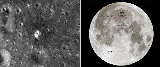 A 2013. március 17-i meteorbecsapódás következtében keletkezett mintegy 18 méter átmérőjű új holdkráter és sugársávjai az LRO felvételén (balra) és a kráter helye a Mare Imbrium (Esők Tengere) területén (jobbra) (kép: www.universetoday.com, 2013. december 18.).
