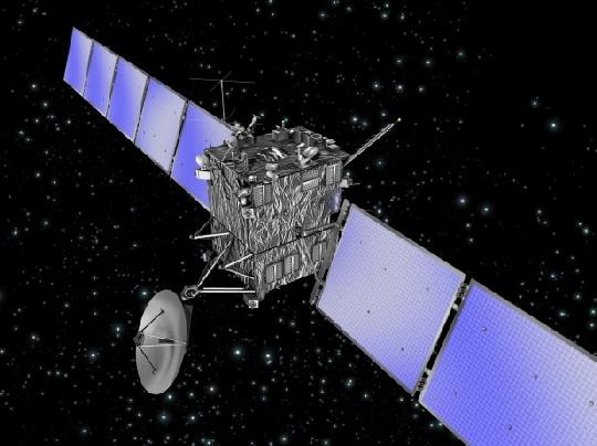 Az ESA Rosetta űrszondája a szétnyitott napelemtáblákkal és a nagy hatótávolságú rádióösszeköttetést biztosító antennájával. (ESA)