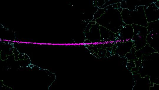 A kevés megfigyelés miatt a légkörbe érés helyére csak egy igen hosszú sávot tudtak megadni az égimechanikusok, melynek jelentős része az Atlanti-óceán felett húzódik. Szintén a kevés megfigyelés miatt a kisbolygó korábbi pályája is csak nagy bizonytalansággal számolható.