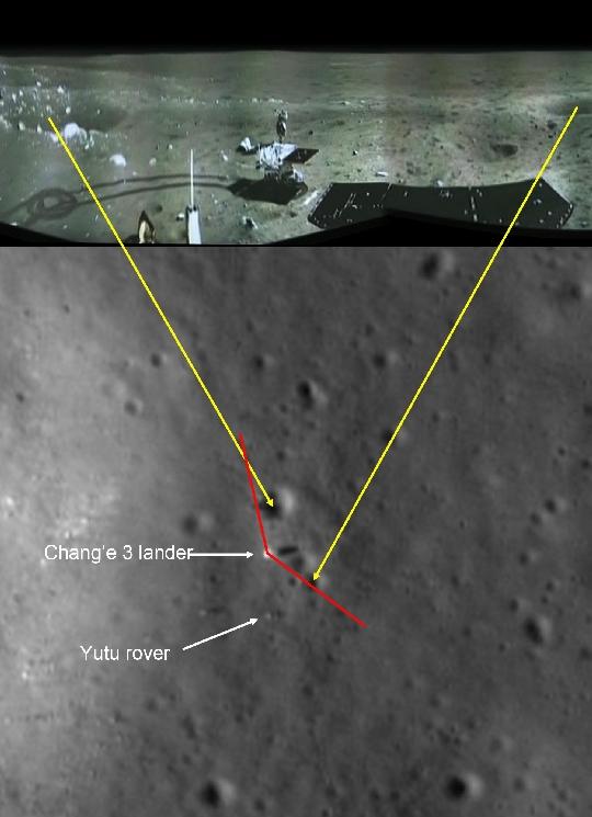 A kínai hodljáró panormáma felvétele a leszállóhelyről (fent) és az ottani felszíni alakzatok jól azonosíthatók a NASA LRO/LROC NAC felvételén (lent). A hatkerekű holdjáró megtett útja és és körbefordulásának nyoma is látható (kép: NASA LRO/LROC NAC, SESE/ASU, 2013. december 30.).
