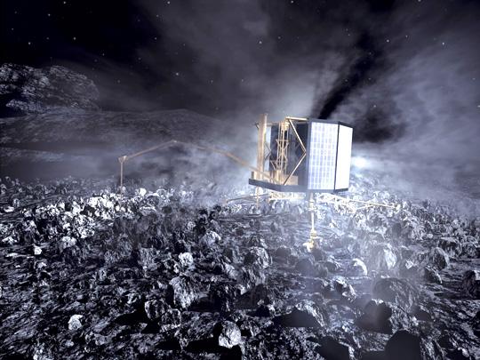 Fantáziarajz az üstökösmagon landolt Philae leszállóegységről.