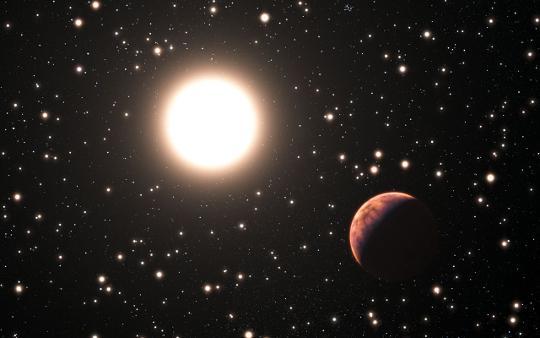 Fantáziarajz az M67-ben felfedezett három exobolygó egyikéről és a csillagáról, amely a paramétereit tekintve majdnem teljesen olyan, mint a Nap. [ESO/L. Calçada]