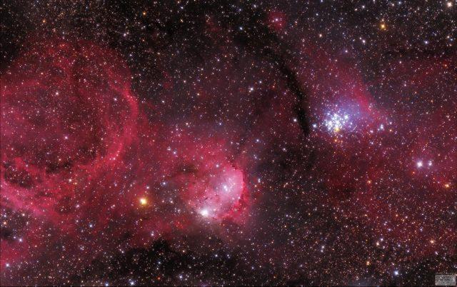 Nyílthalmazok a Hajógerinc csillagképben (Fényes Lóránd felvétele)