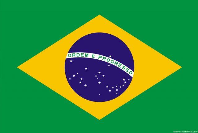 Brazília nemzeti zászlaja, rajta a Dé Keresztjével és más csillagképekkel.