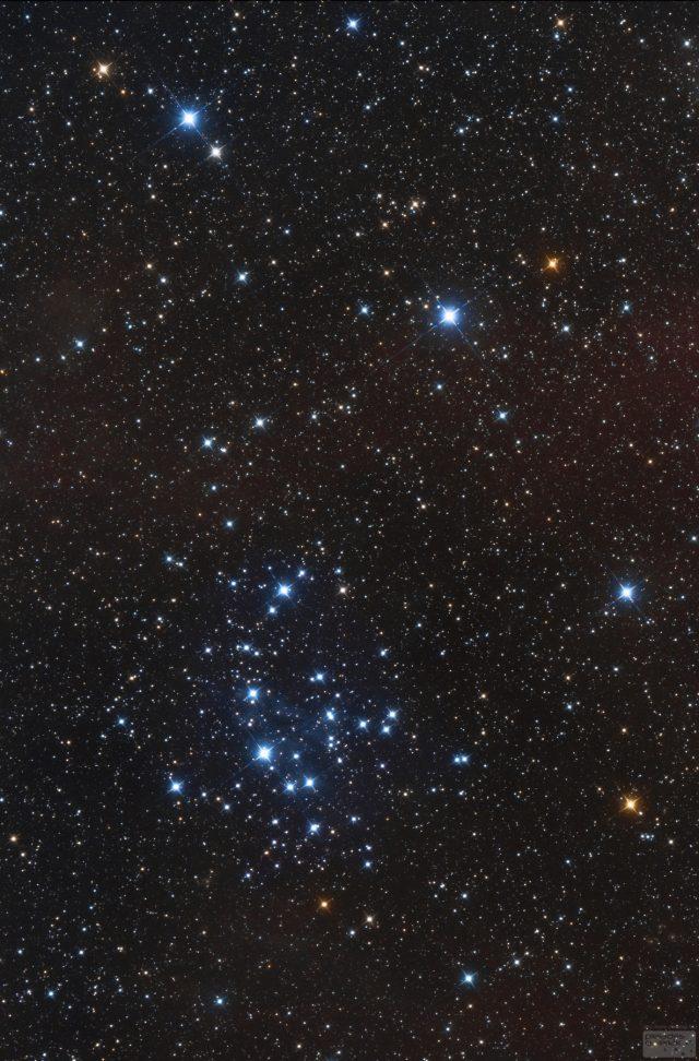Az NGC 2547 jelű nyílthalmaz a Vela (Vitorla) csillagképben. A felvétel Namíbiában készült 2014-ben, 200/800-as Newton-távcsővel.