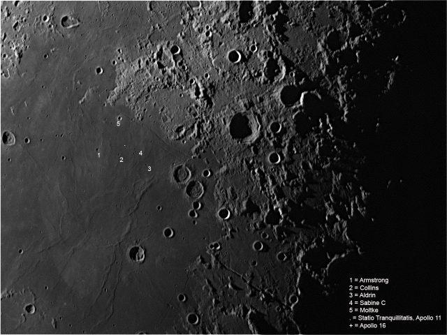 Az Apollo-11 leszállóhelyének környezete. A felvétel 2012. október 21-én készült, a Balaton Csillagvizsgáló 30 cm-es Schmidt-Cassegrain-távcsövével és DMK41 kamerával.