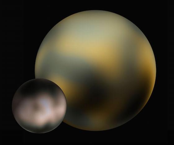 A Plútó és Charon térképe a Hubble-űrtávcső megfigyelései alapján