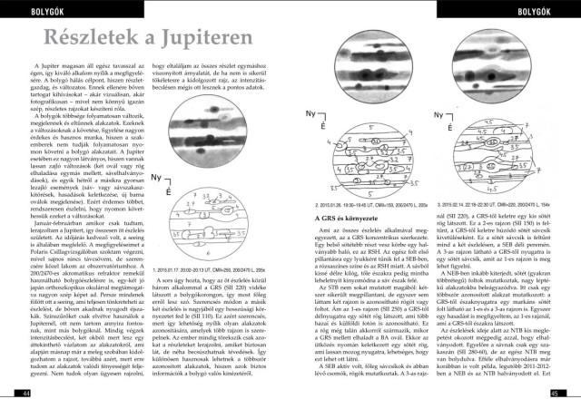 Részletek a Jupiteren - részlet a bolygós rovatból. Mayer Márton saját észleléseit mutatja be cikkében.
