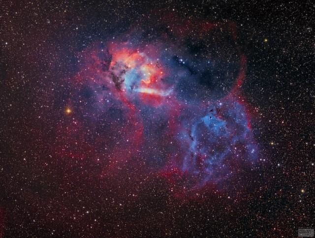 A hét képét Fényes Lóránd készítette 10 cm-es f/5-ös apokromatikus távcsővel QHY IC8300 CCD kamerával, SII, H-alfa, OIII és RGB szűrőkkel, 37 órányi expozíciós idővel Piliscsévről.