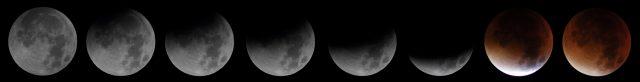 """Arthofer Balázs sorozatfelvétele Szombathelyről (Luna 90 távcső, Canon 760D.) """"A teljesség elérését követően szinte a semmiből előkerült egy termetes felhő. Így a teljesség nélkül a fogyatkozást én így láttam."""""""