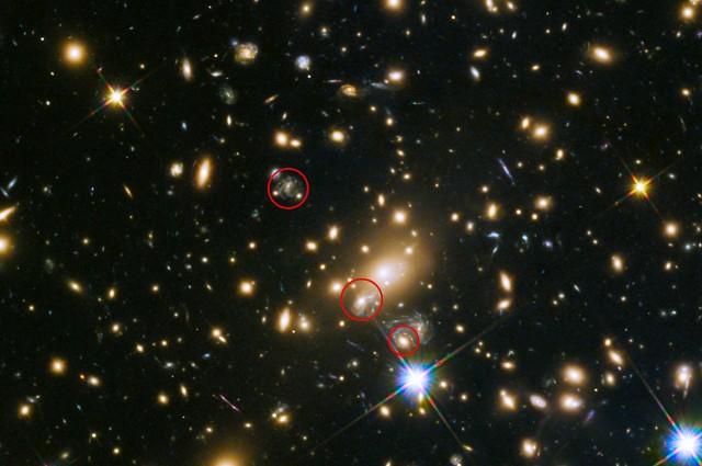 A Refsdal-szupernóva felbukkanása a Hubble-űrtávcső felvételén. A középső piros kör jelzi a szupernóva 2016 elejére várt, újbóli felbukkanásának becsült helyét (NASA/ESA/HST).