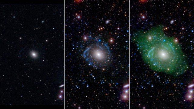 Balra egy optikai tartományban készült kép az UGC 1382 galaxisról. Ebben a tartományban egy átlagos elliptikus galaxisnak tűnik. Ultraibolya-tartományban készült képeken már látszódnak a spirálkarok (középső ábra). Ha ezt még összevetjük az alacsony sűrűségű hidrogénház eloszlásával (jobbra, zöld szín), akkor látszódik, hogy mekkora galaxissal van dolgunk.