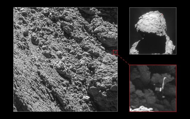 A Philae az üstökös kisebbik lebenyén szállt le. (ESA/Rosetta/MPS for OSIRIS Team MPS/UPD/LAM/IAA/SSO/INTA/UPM/DASP/IDA; ESA/Rosetta/ NavCam)