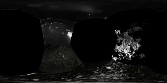 A Philae nézőpontja. Mivel oldalra dőlt, vízszintes helyett függőleges körpanorámát készített. (ESA / Rosetta / Philae / CIVA, feldolgozás: Matthias Malmer)