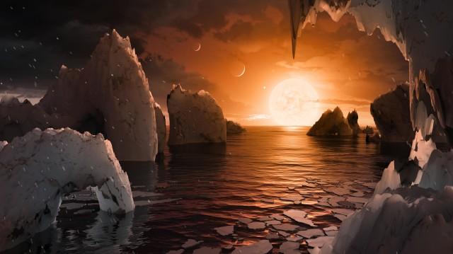 Ilyen lehet a látvány a TRAPPIST-1f bolygóról egy elképzelés szerint (Illsuztráció: NASA/JPL-Caltech)